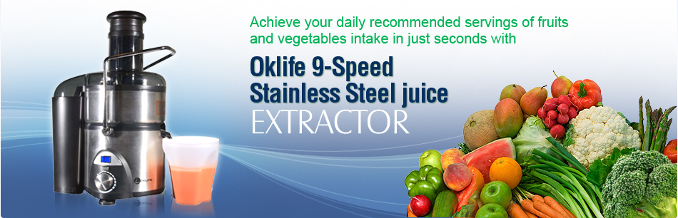 Oklife 9-Speed Stainless Steel Jiuice Extractor
